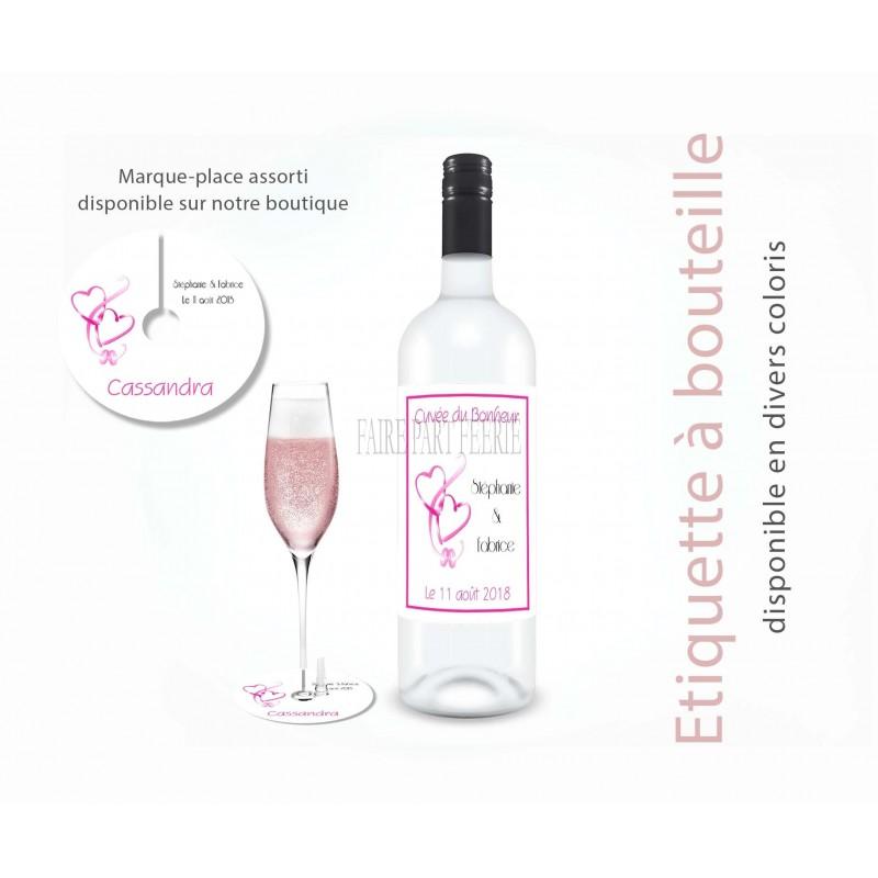 Etiquette bouteille personnalisée mariage